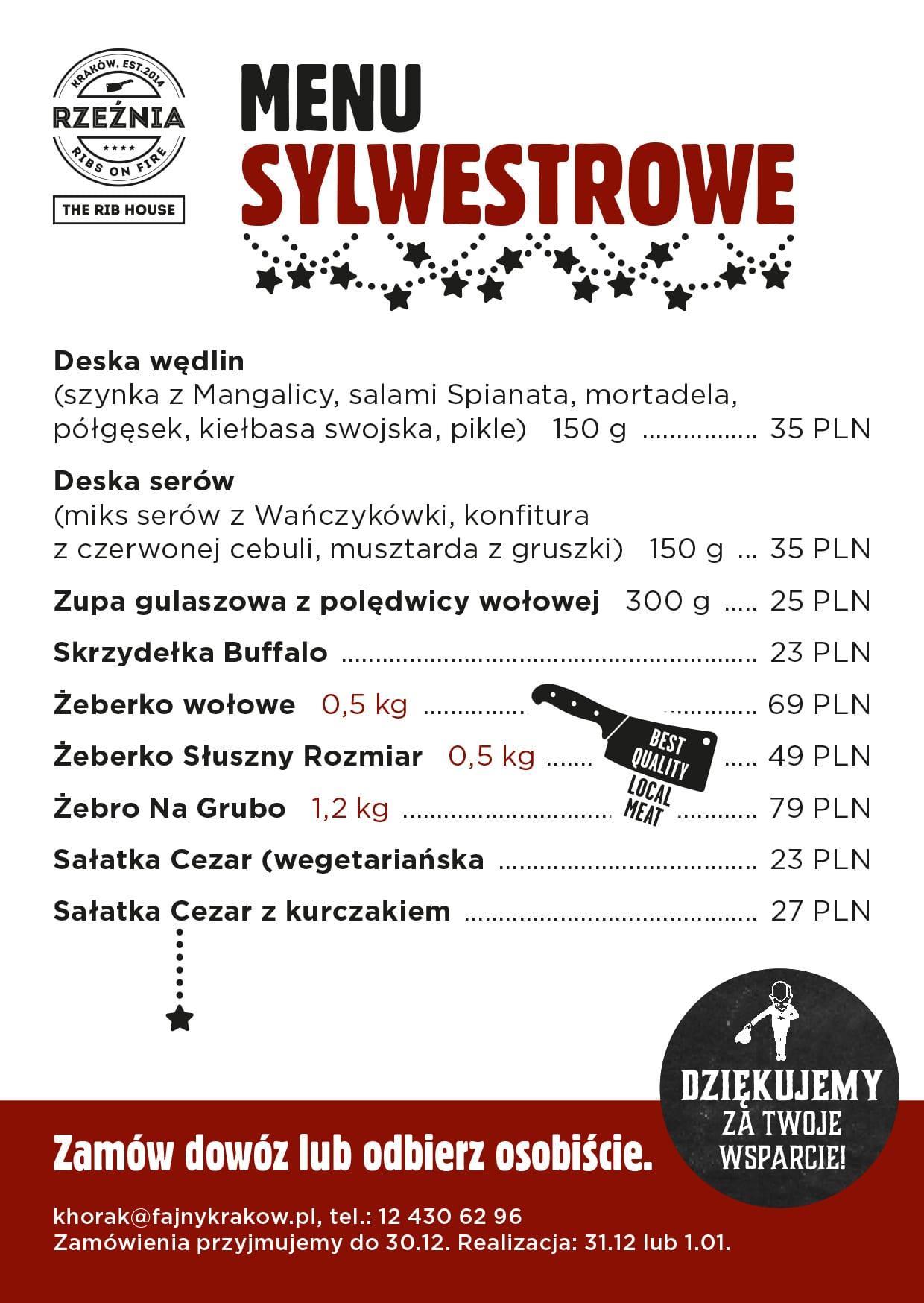 menu sylwestrowe 2020 rzeźnia kraków